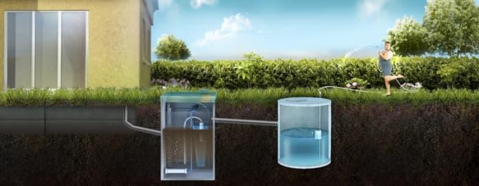 Отвод очищенной воды в накопительный резервуар для повторного использования